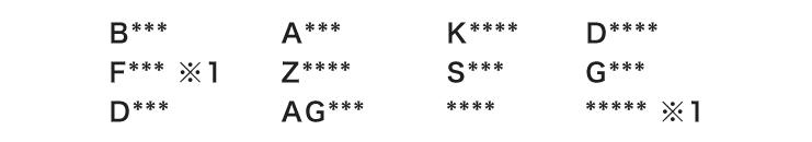 制作が可能な鍵番号の例